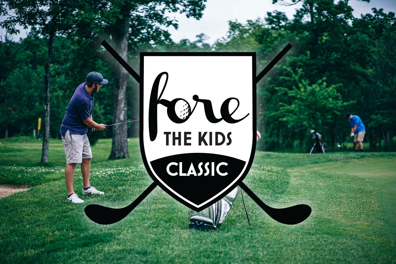 "Man playing golf in the background behind the ""Fore the Kids Classic"" logo"