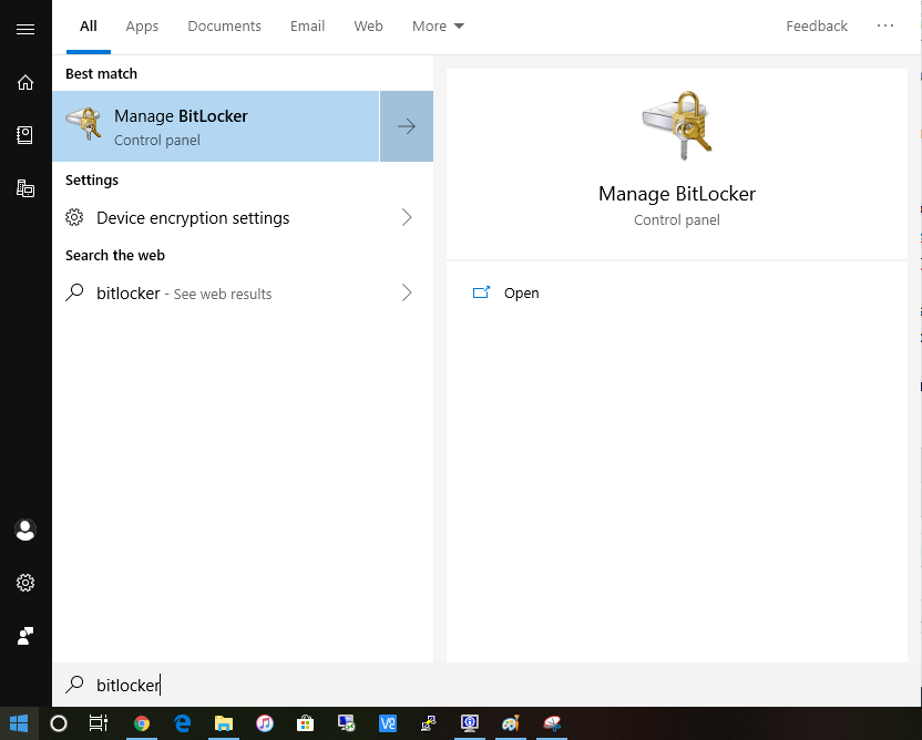 Start menu search for Bitlocker